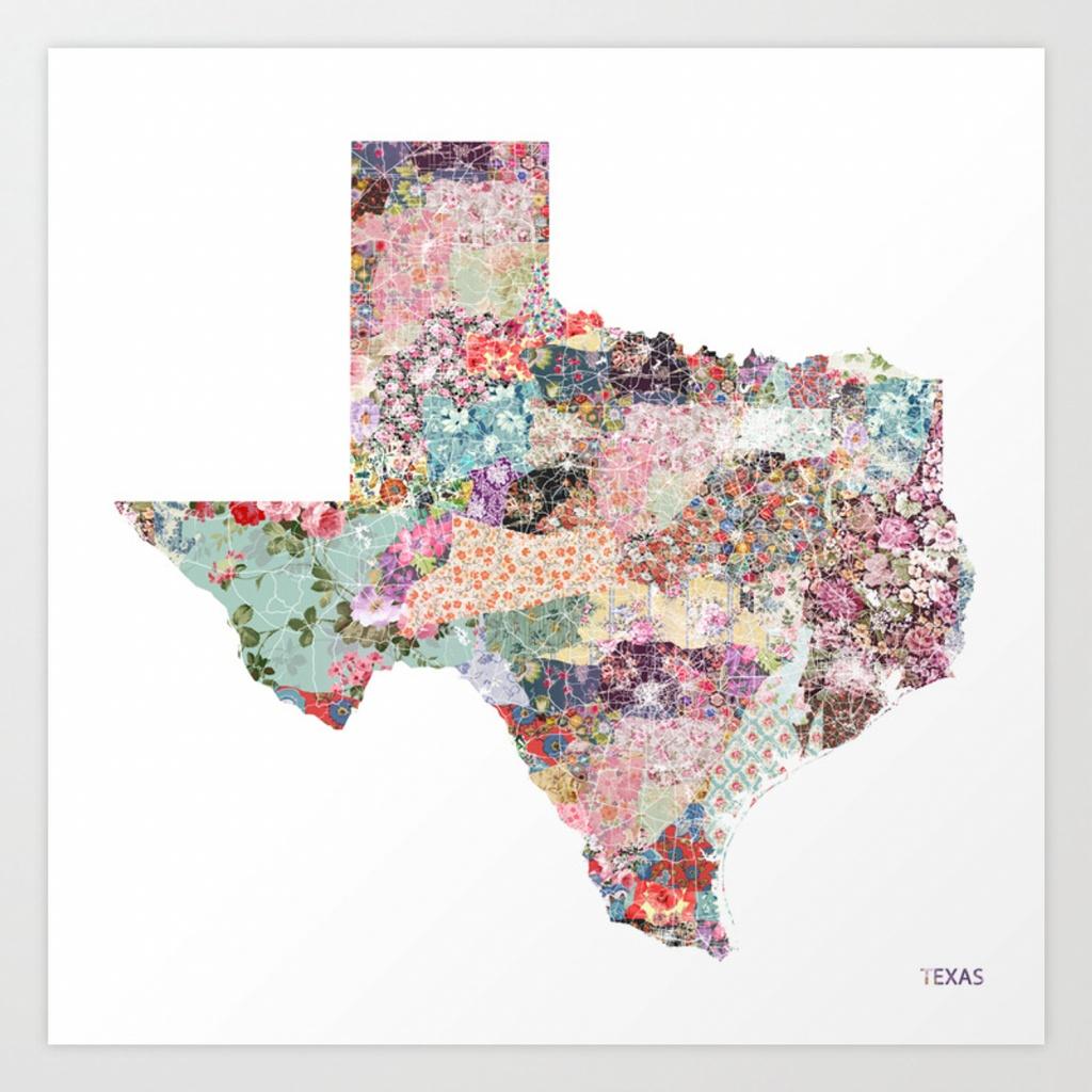 Texas Map Art Printpoeticmaps | Society6 - Texas Map Art