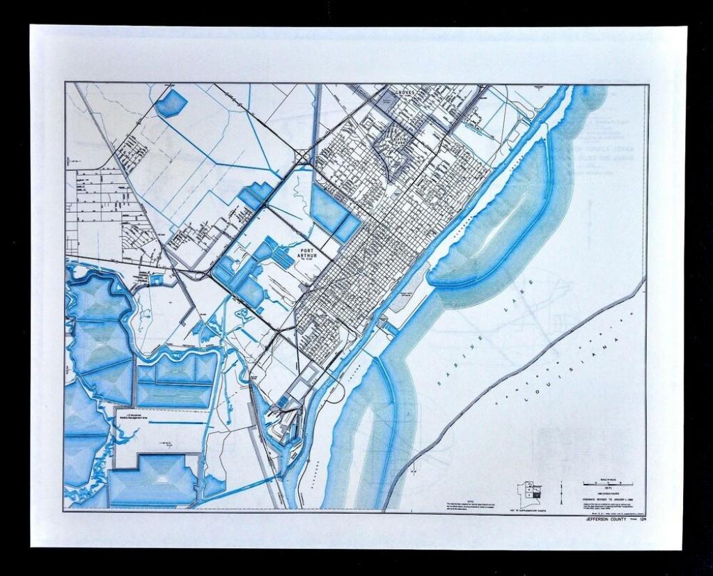 Texas Map - Jefferson County - Port Arthur Pleasure Island Sabine - Groves Texas Map