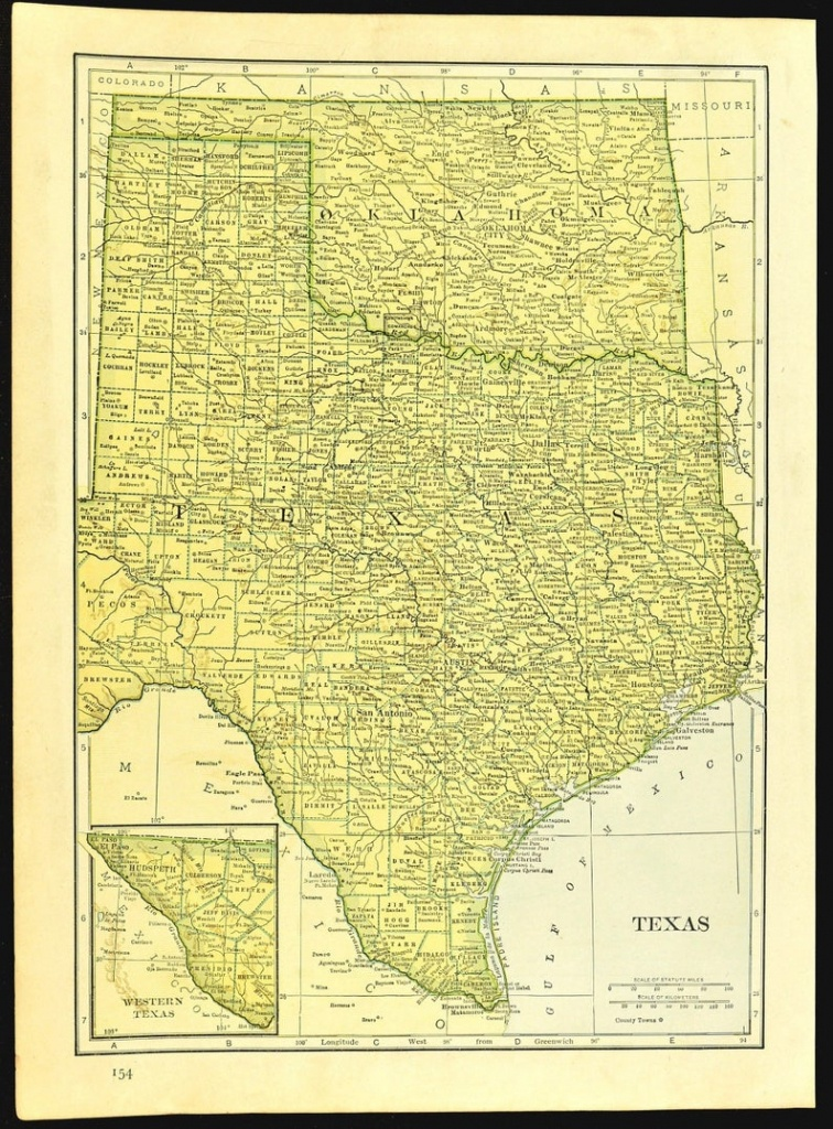 Texas Map Of Oklahoma Map Of Texas Wall Art Decor Original | Etsy - Map Of Texas Art