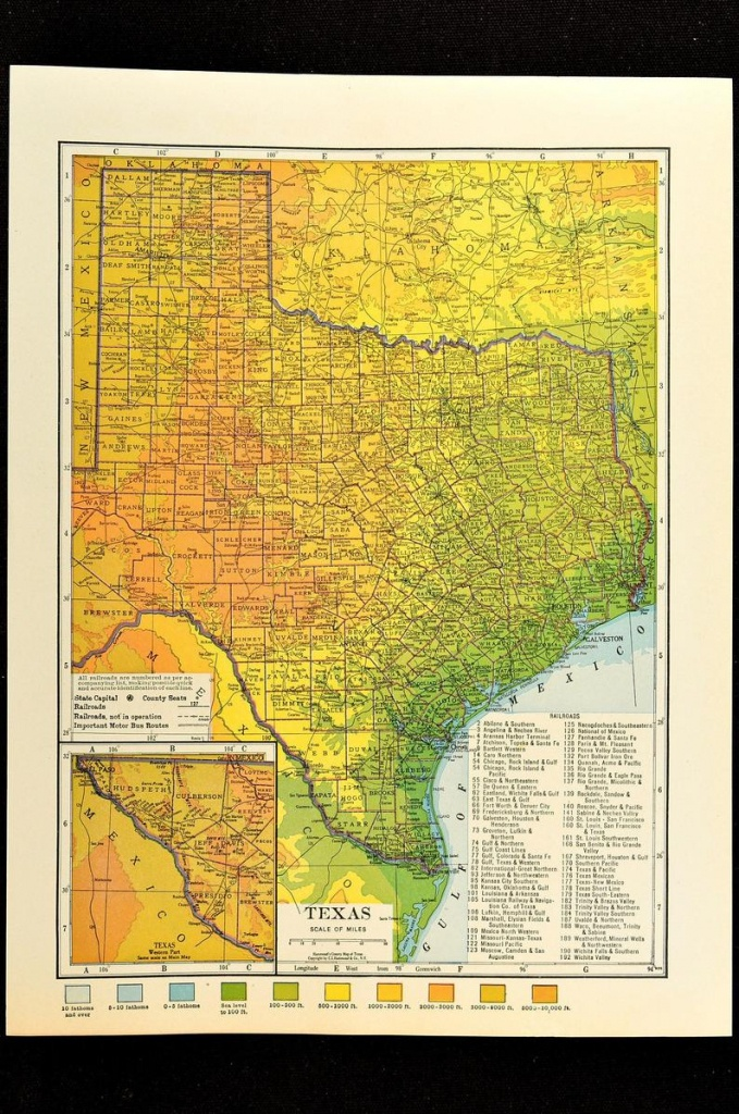 Texas Map Of Texas Topographic Map Wall Decor Art Colorful   Etsy - Texas Map Wall Decor