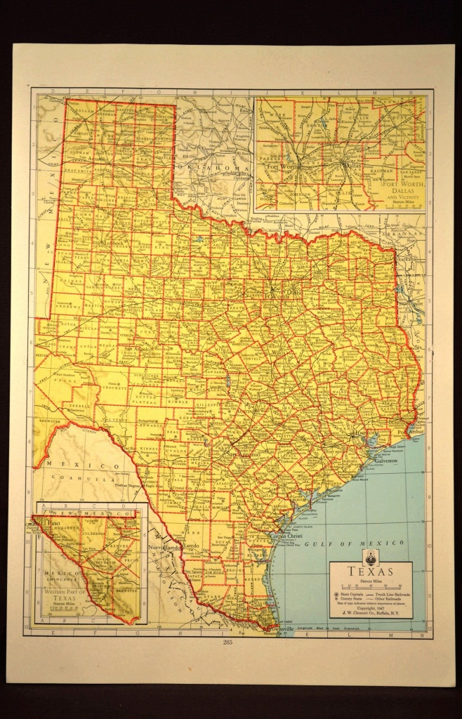 Texas Map Of Texas Wall Art Colored Colorful Yellow Vintage Gift - Texas Map Wall Decor