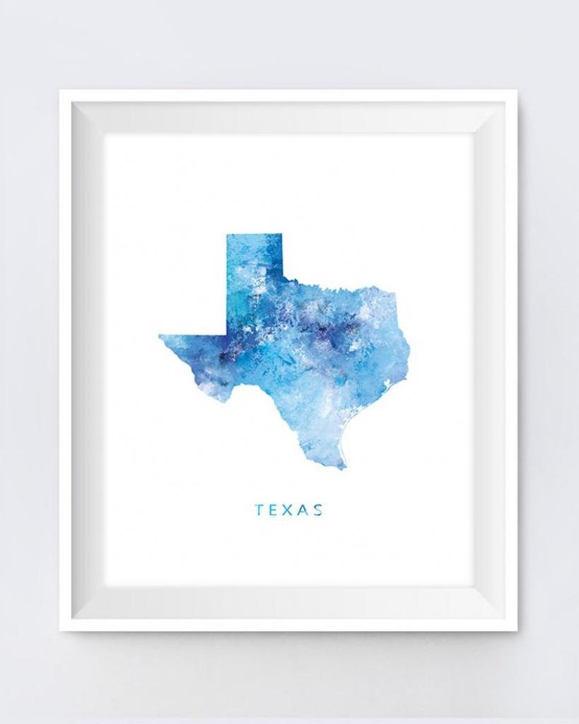Texas Map Print Texas Map Art Austin Print Dallas State Poster   Etsy - Texas Map Art