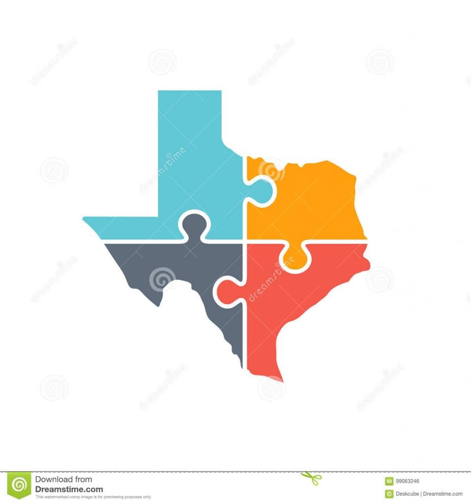 Texas Map Puzzle Logo Illustration Illustration Stock - Illustration - Texas Map Puzzle