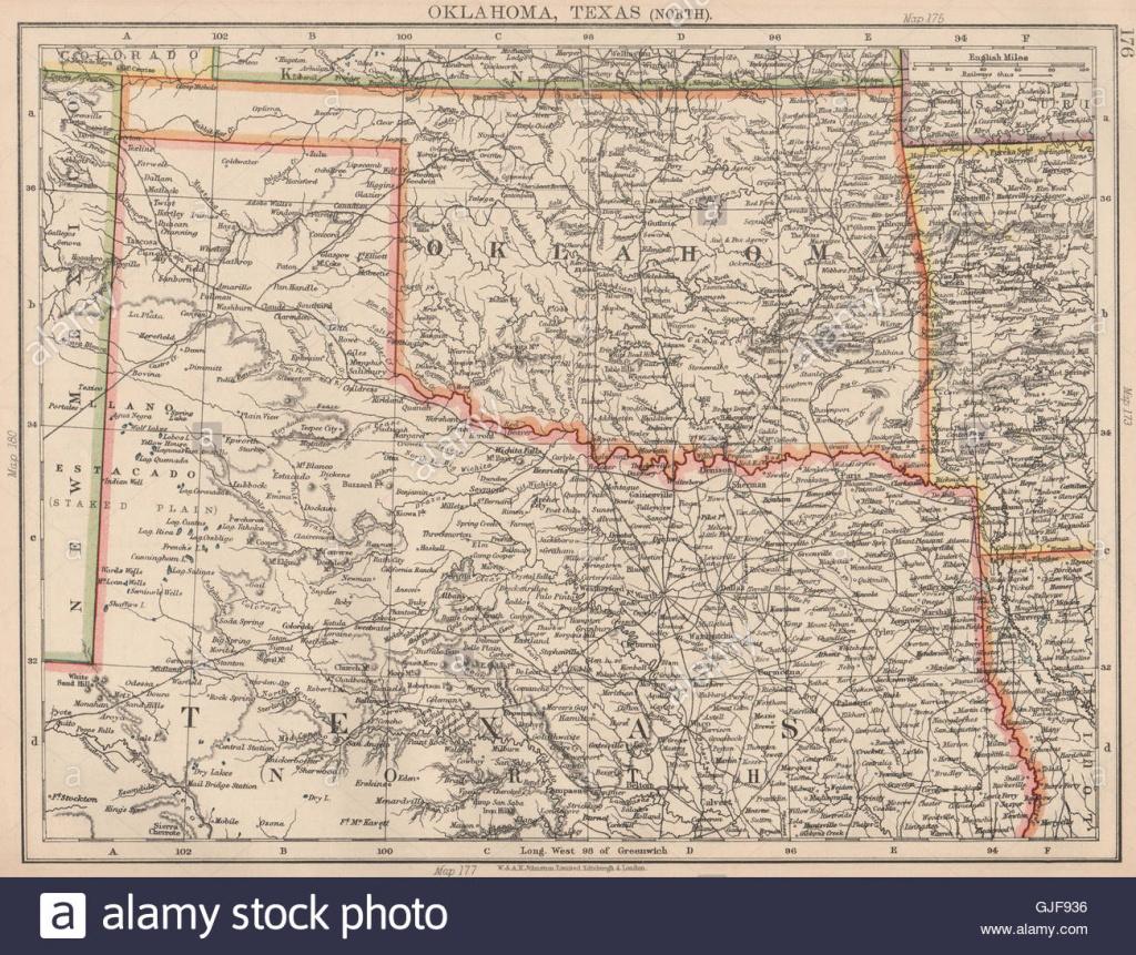 Texas Oklahoma Map Stock Photos & Texas Oklahoma Map Stock Images - Map Of North Texas And Oklahoma