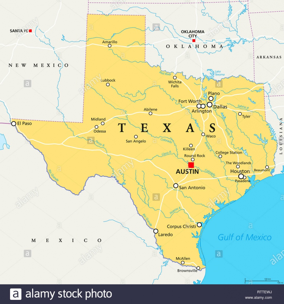 Texas, Political Map, With Capital Austin, Borders, Important Cities - South Texas Cities Map