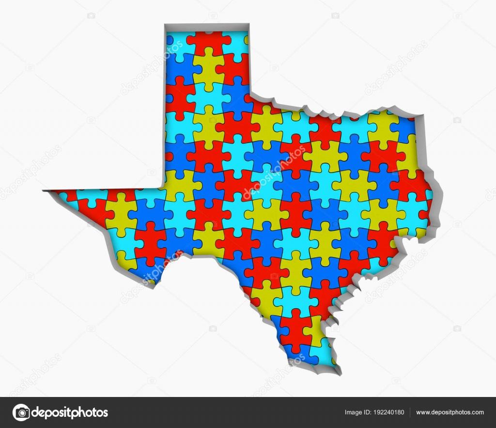 Texas Puzzle Pieces Carte Travaillant Ensemble Illustration - Texas Map Puzzle
