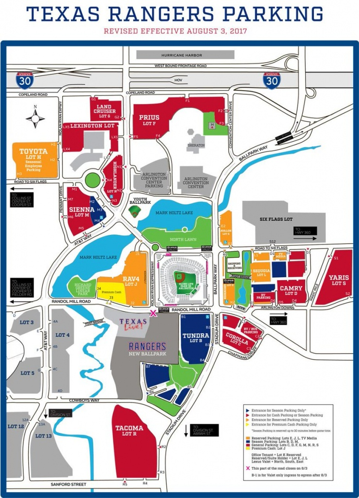 """Texas Rangers On Twitter: """"select Roads & Parking Lots Are Closed - Texas Rangers Parking Map 2018"""