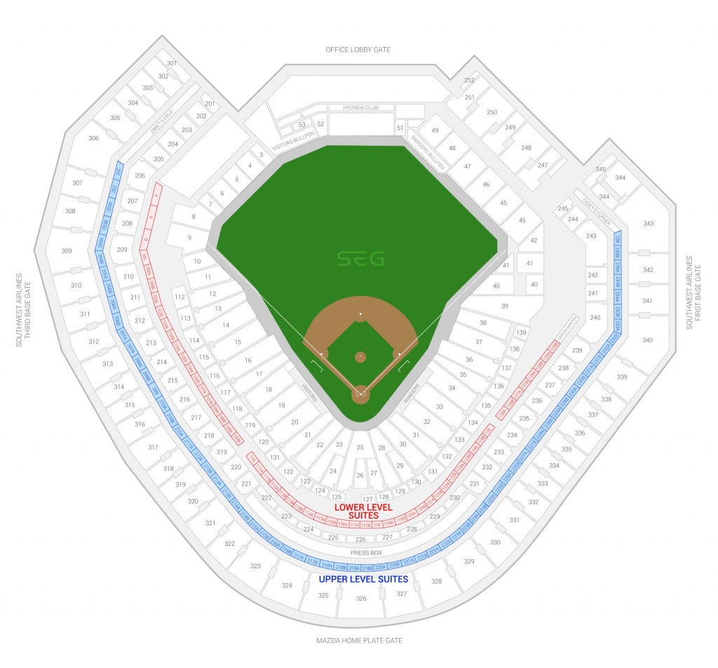 Texas Rangers Suite Rentals | Globe Life Park - Texas Rangers Stadium Map