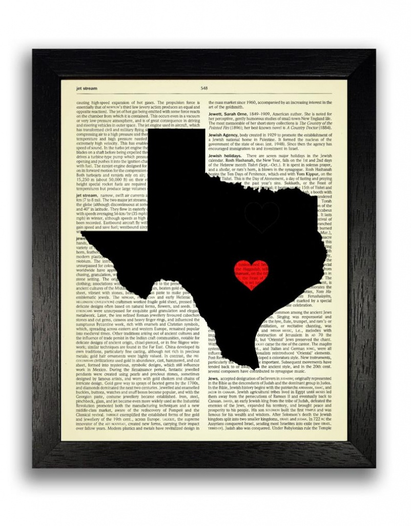 Texas State Art Print Texas State Map Poster Texas Love | Etsy - Texas Map Poster