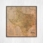 Texas State Map Texas Map Canvas Antiqued Texas Map Canvas | Etsy   Texas Map Canvas