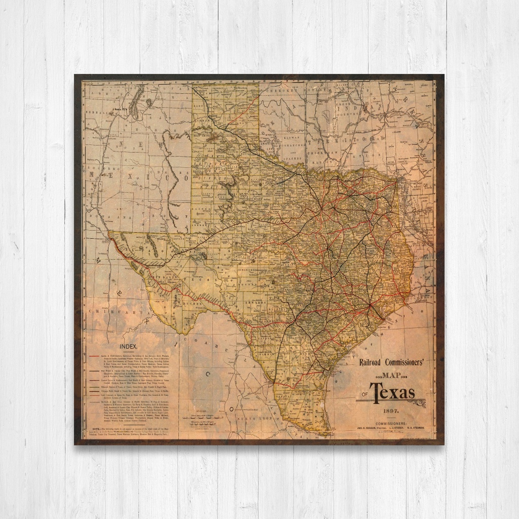 Texas State Map Texas Map Canvas Antiqued Texas Map Canvas | Etsy - Texas Map Canvas