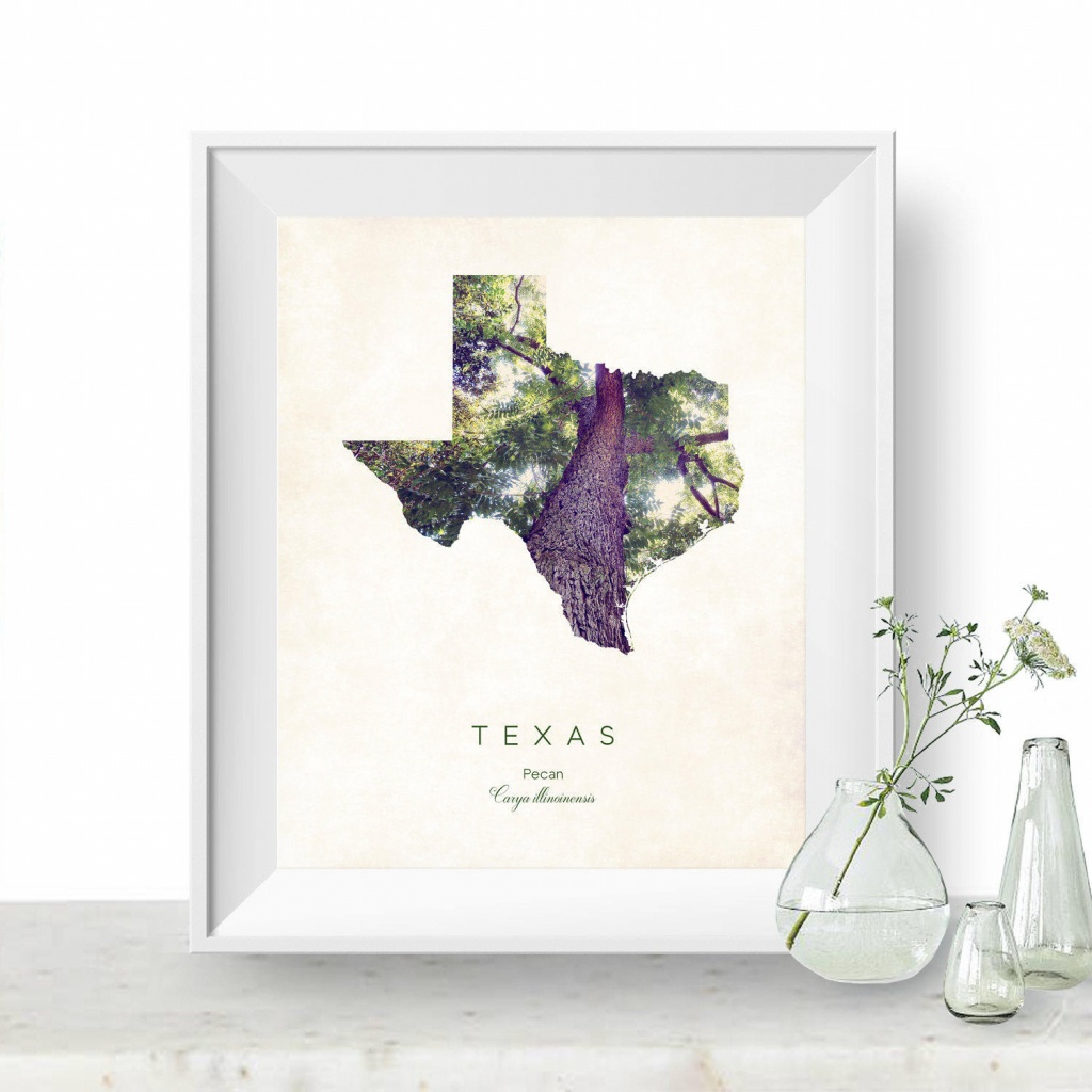 Texas State Tree Map Art State Map Print Map Poster Wall | Etsy - Texas Tree Map