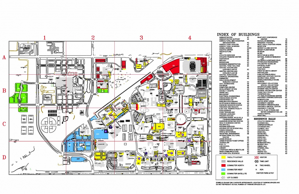 Texas Tech University Parking- Visitor Map - Lubbock Texas Usa • Mappery - Texas Tech Dorm Map
