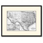 Texas Vintage B&w Map Canvas Print, Picture Frame Home Decor Wall   Texas Map Canvas