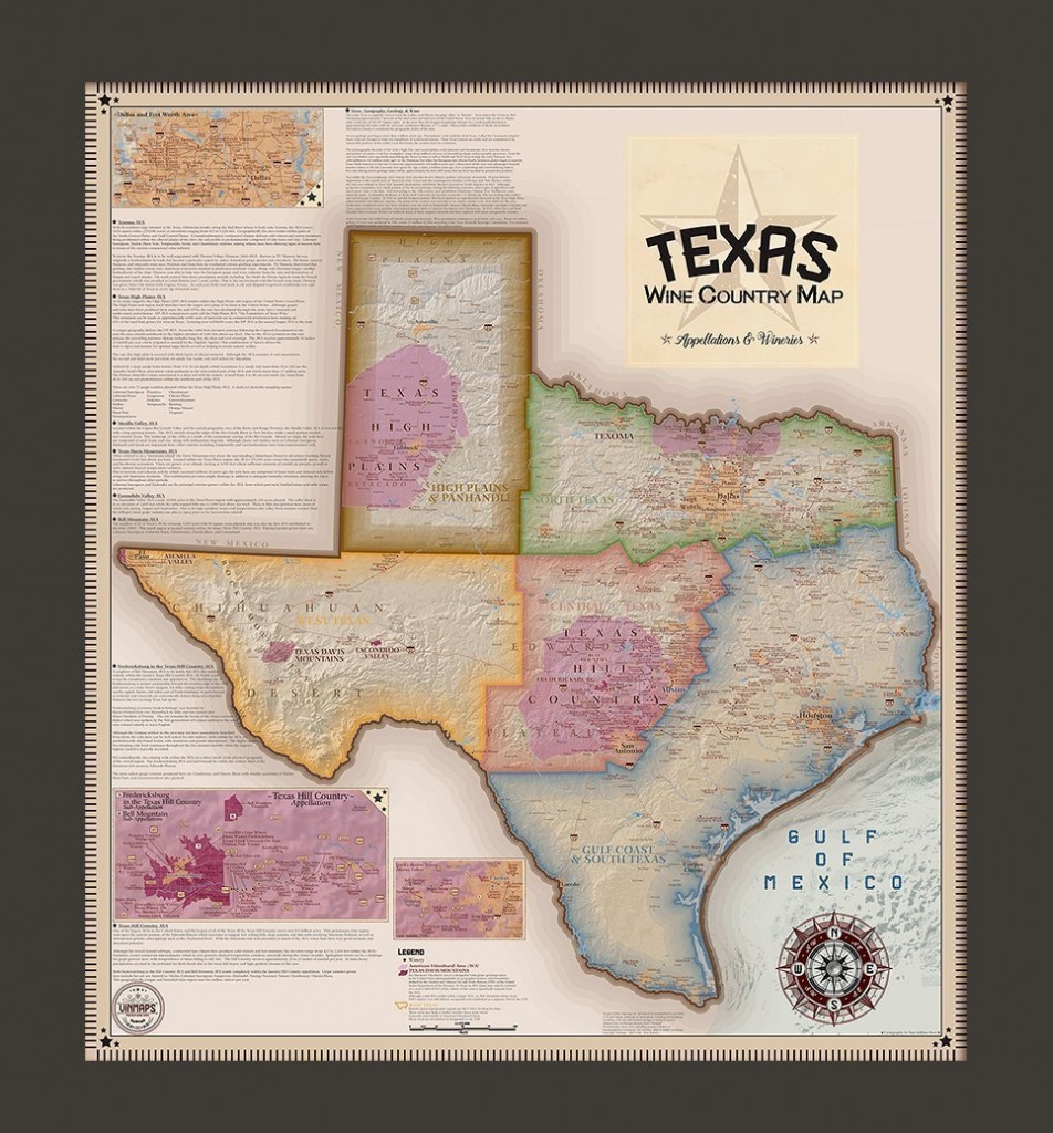 Texas Wine Country Map, Appellations & Wineries - Framed - Vinmaps® - Texas Wine Country Map