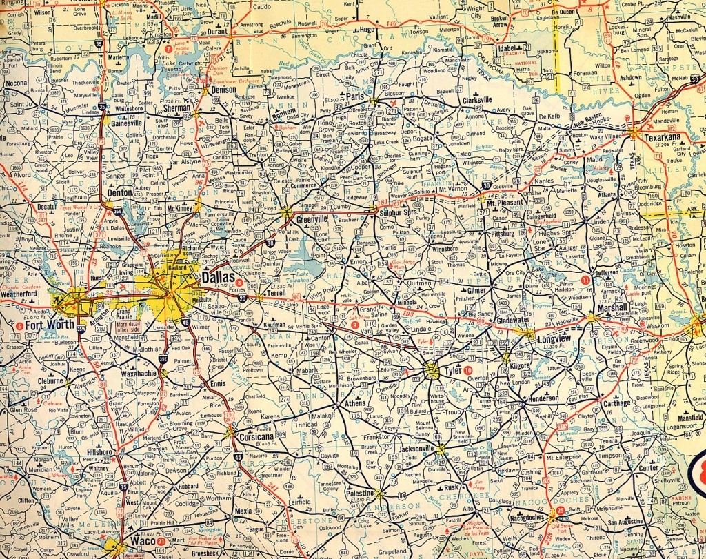 Texasfreeway > Statewide > Historic Information > Old Road Maps - Detailed Road Map Of Texas