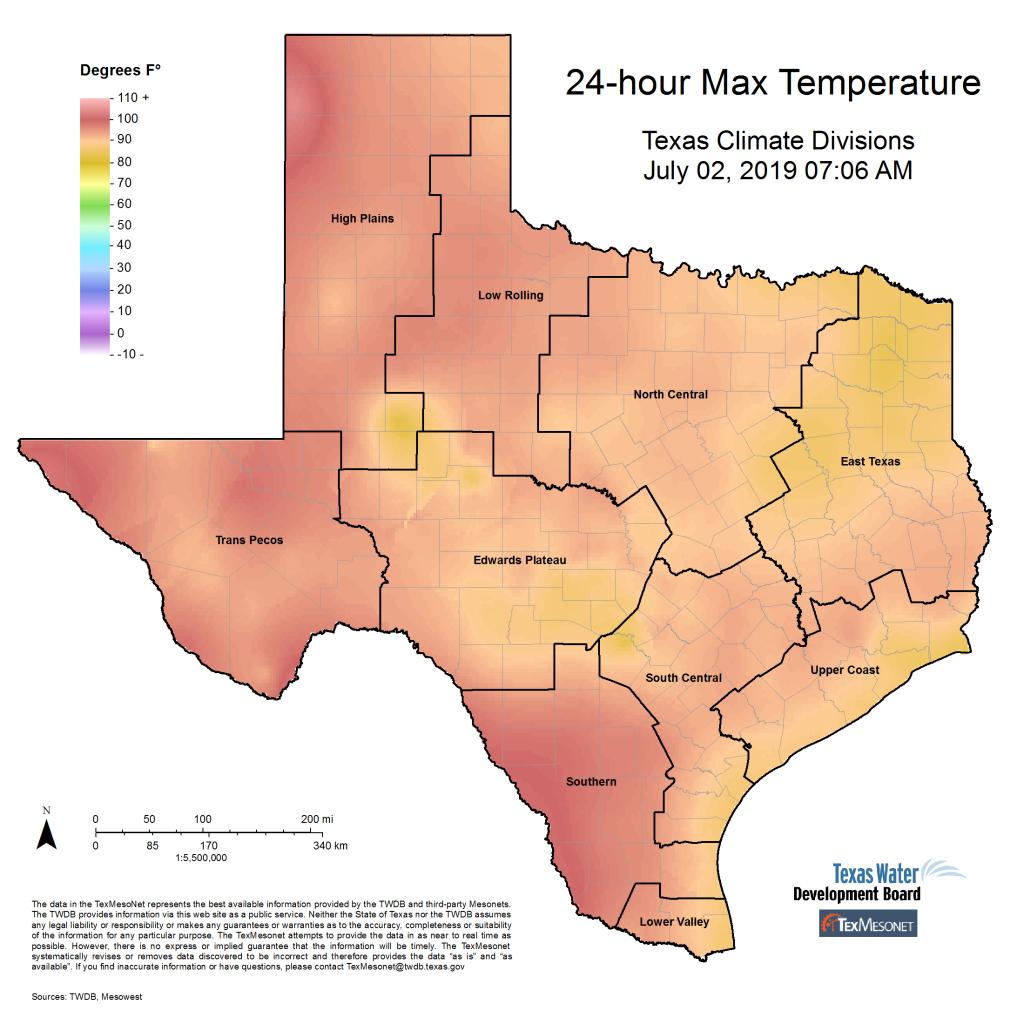 Texmesonet - Texas Temperature Map