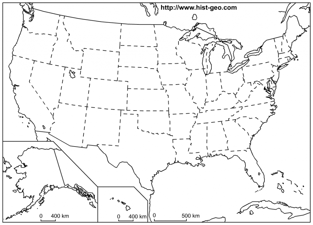 That Blank School Map Displaying The 50 States Of The United States - Free Printable Outline Map Of United States