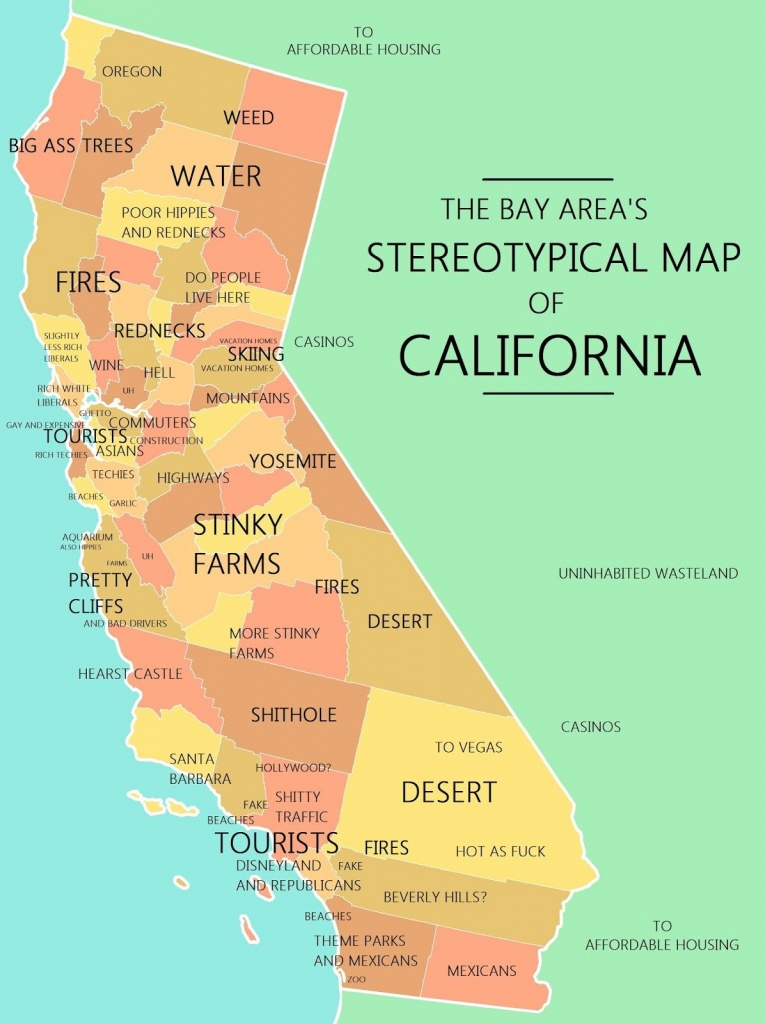 The Bay Area's Stereotypical Map Of California | Mapping Stereotypes - California Lead Free Zone Map