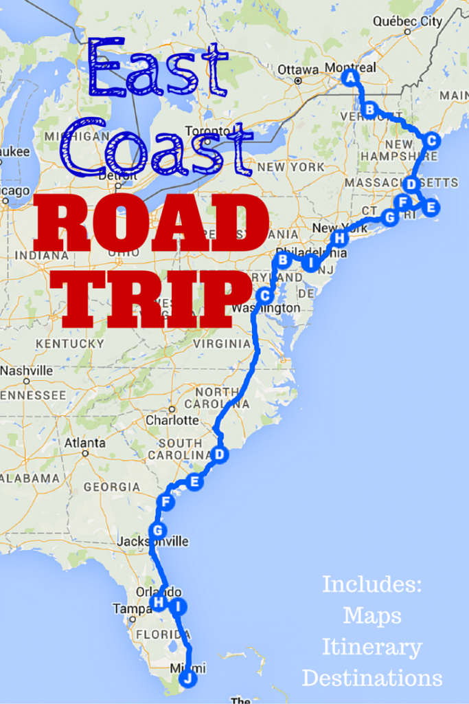 The Best Ever East Coast Road Trip Itinerary | Road Trip Ideas - Florida Road Trip Trip Planner Map