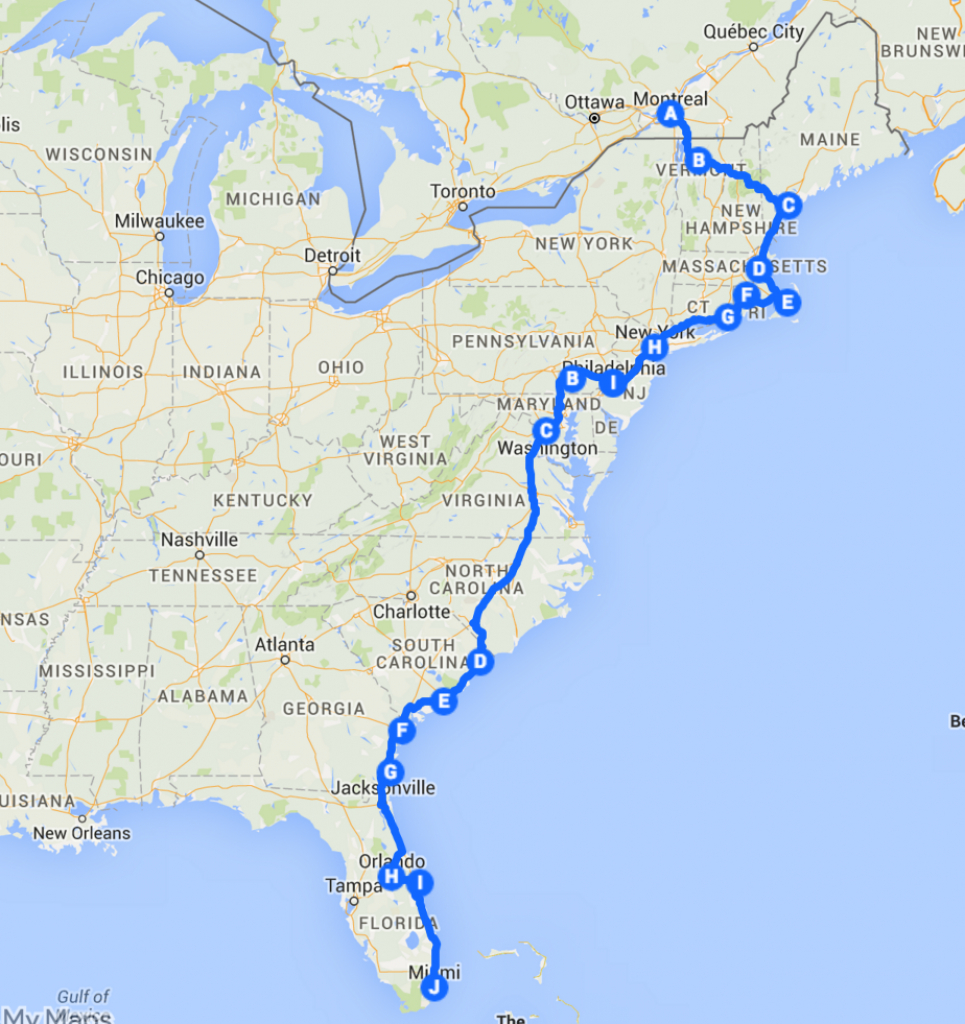 The Best Ever East Coast Road Trip Itinerary   Vacances   Idée - Florida Road Trip Trip Planner Map