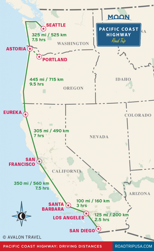 The Classic Pacific Coast Highway Road Trip | Road Trip Usa - California Coast Attractions Map