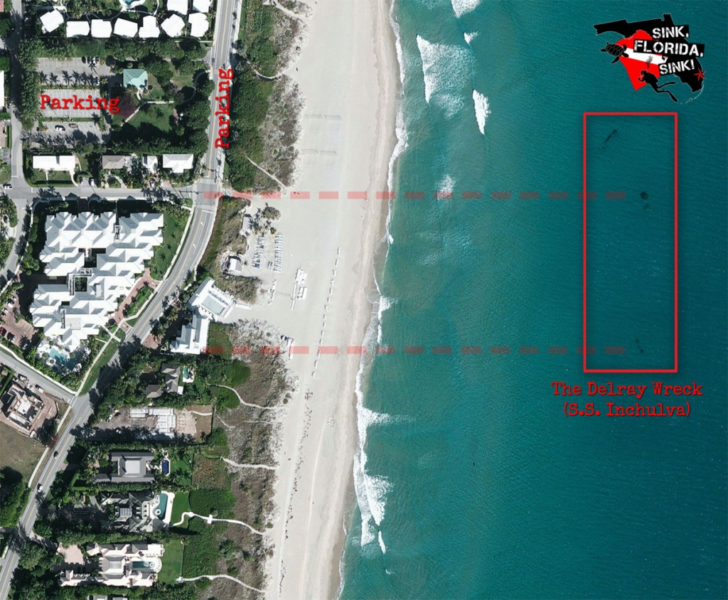 The Delray Wreck | Ss Inchulva Wreck Dive Site - Florida Wreck Diving Map