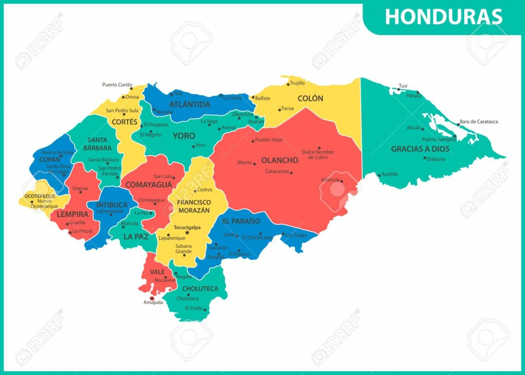 The Detailed Map Of Honduras With Regions Or States And Cities,.. - Printable Map Of Honduras