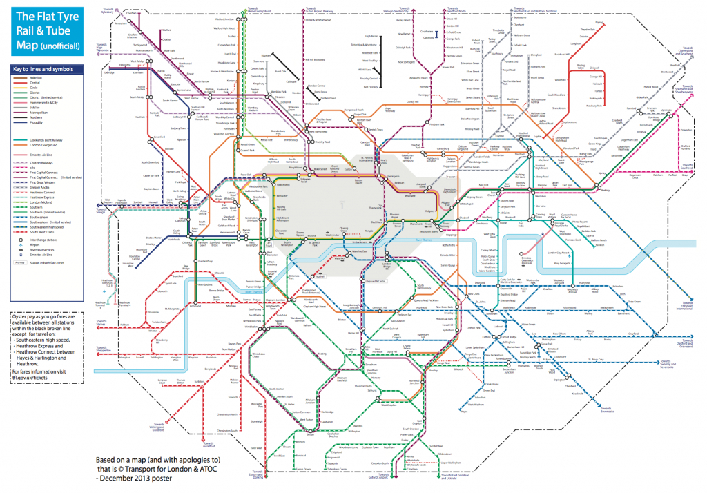 The Flat Tyre Tube Map | Suprageography - Printable London Tube Map 2010
