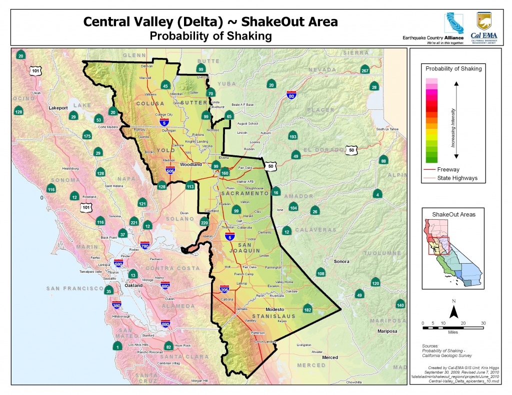 The Great California Shakeout - Delta Sierra Area - Earthquake California Index Map