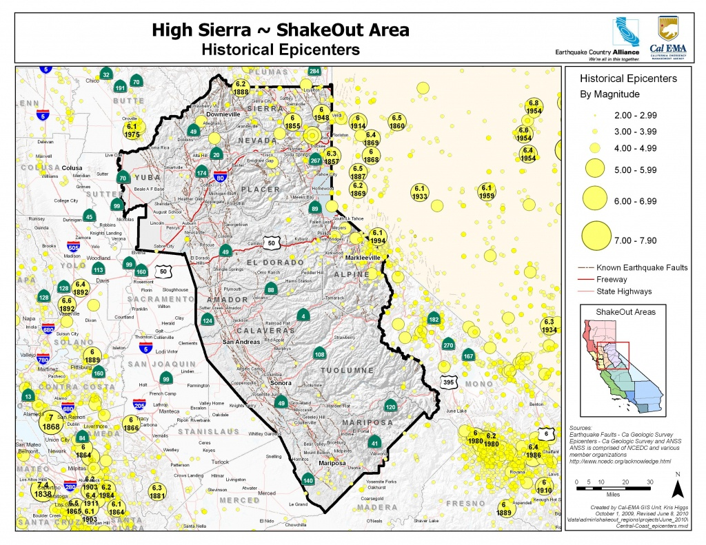 The Great California Shakeout - Delta Sierra Area - Sierra California Map