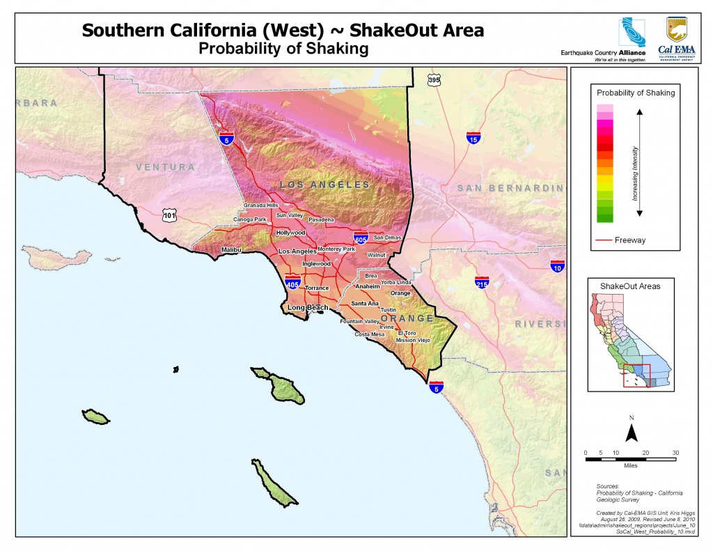 The Great California Shakeout - Southern California Coast Area - Map Of Southern California Coast