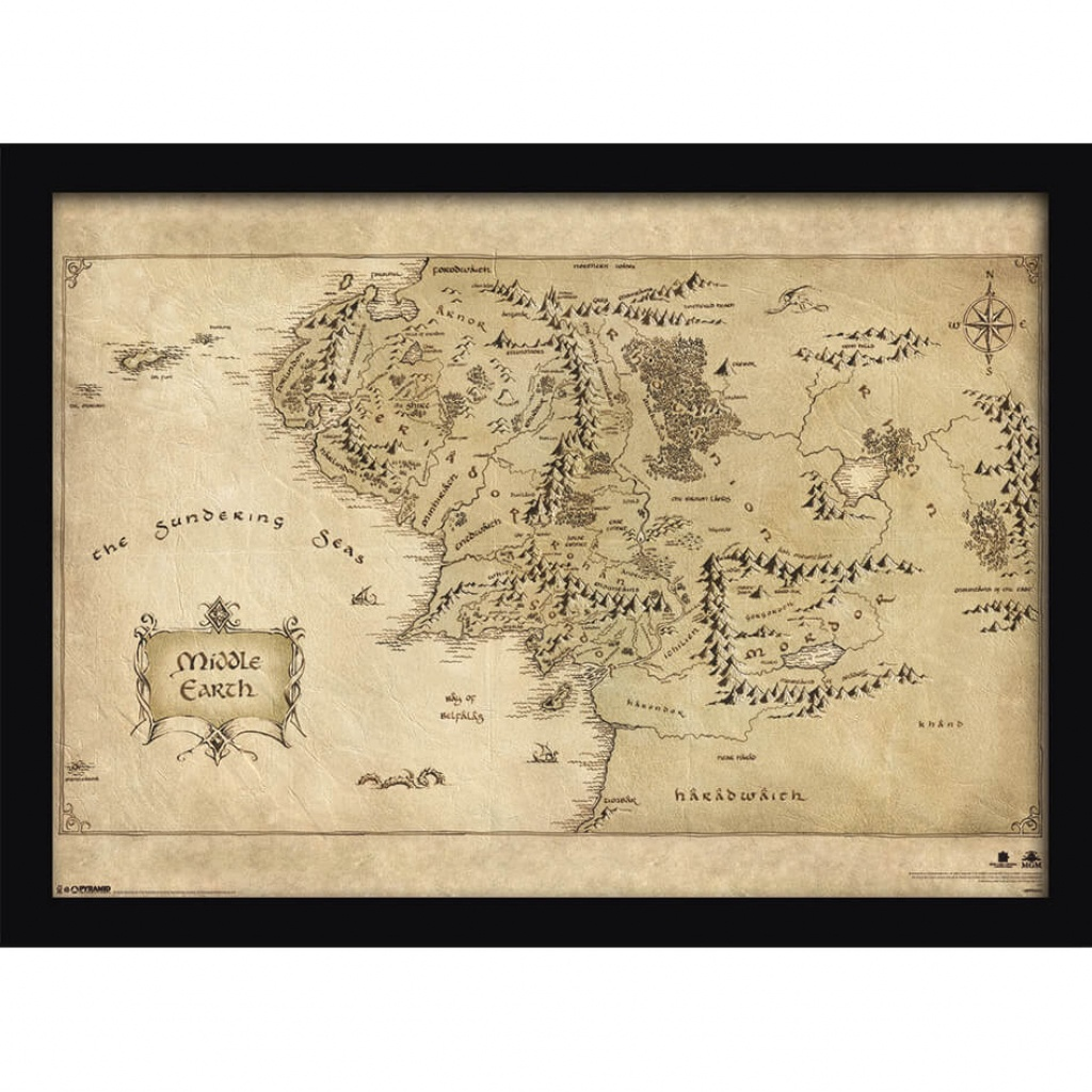 The Hobbit Middle Earth Map Framed Print (30X40) Homeware | Zavvi - Printable Map Of Middle Earth