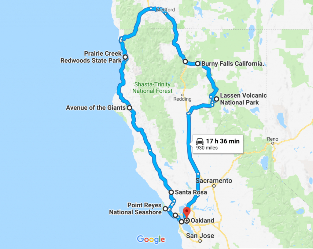 The Perfect Northern California Road Trip Itinerary | Travel | Road - Northern California Road Trip Map