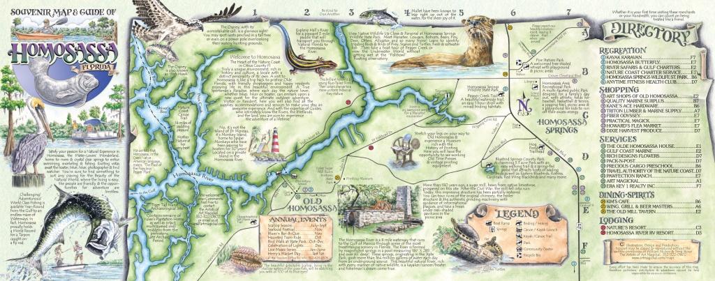 The Souvenir Map & Guide Of Homosassa Springs Fl - Springs Map Florida