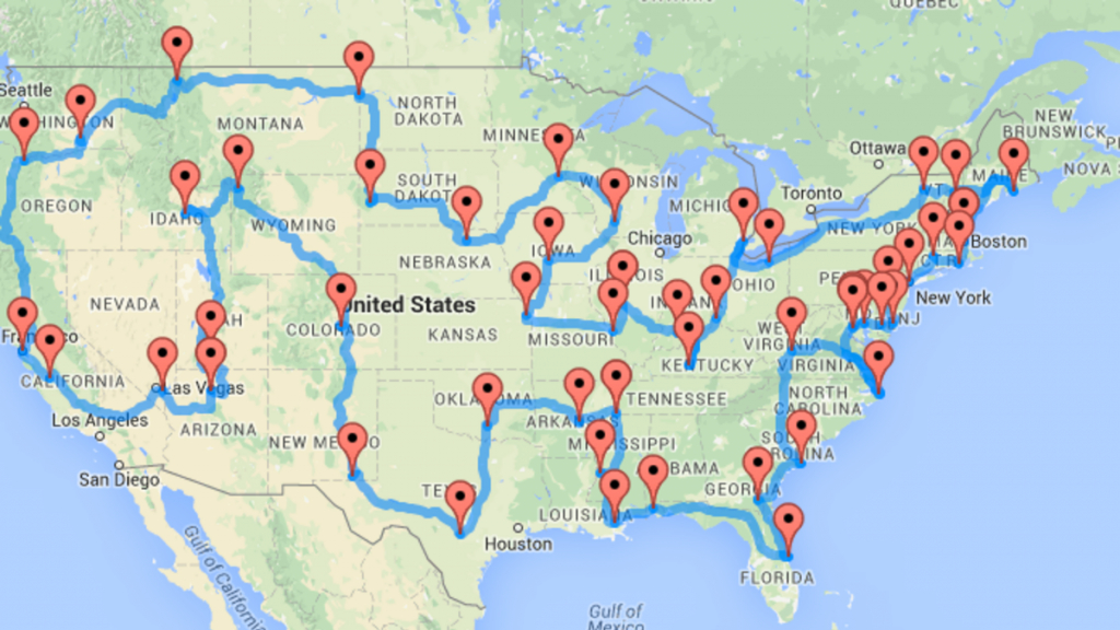 The Ten Best Routes For Driving Across America - Florida Road Trip Trip Planner Map