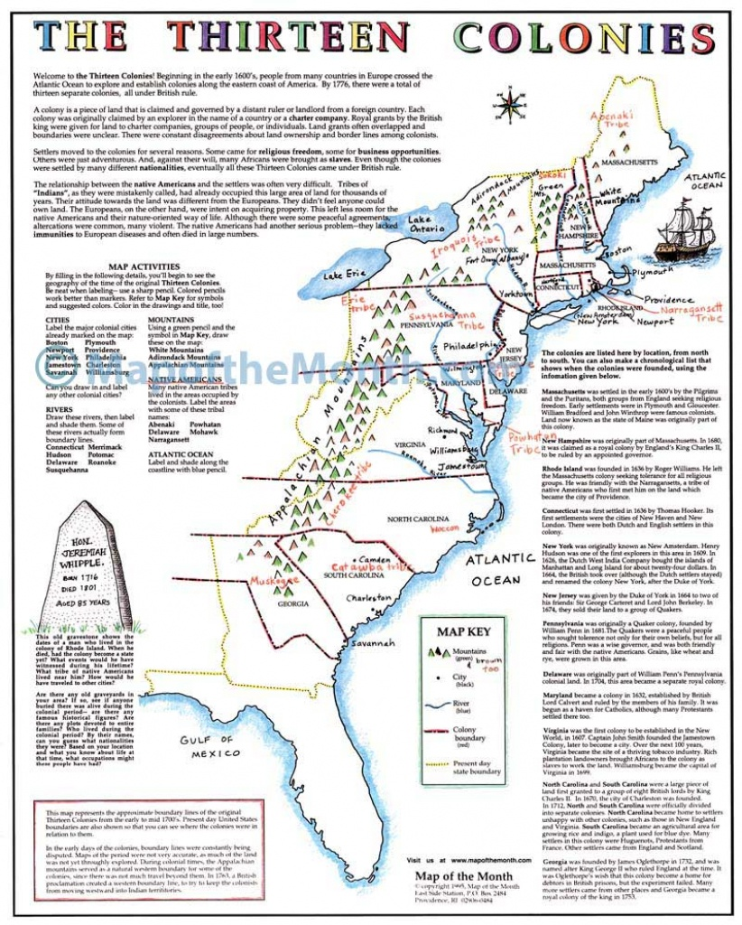 The Thirteen Colonies Map - Maps For The Classroom - Map Of The 13 Original Colonies Printable