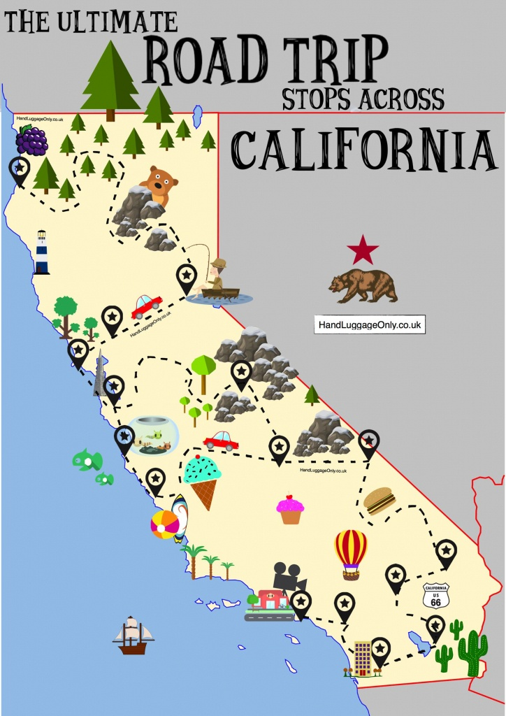 The Ultimate Road Trip Map Of Places To Visit In California - Hand - California Road Trip Trip Planner Map