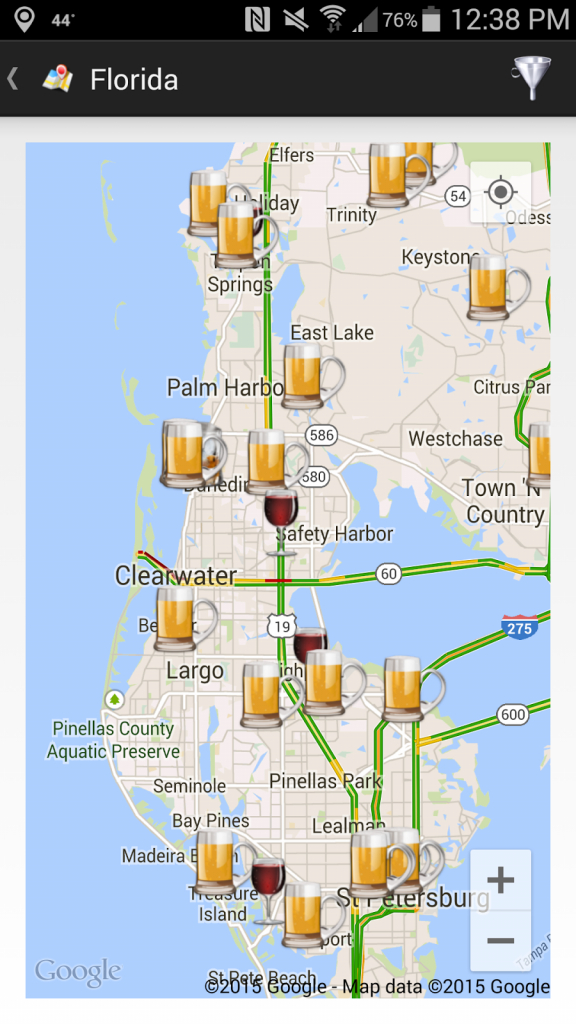 Thecompass Winery Brewery Distillery Locator App's View Of The Fred - Pinellas Trail Map Florida