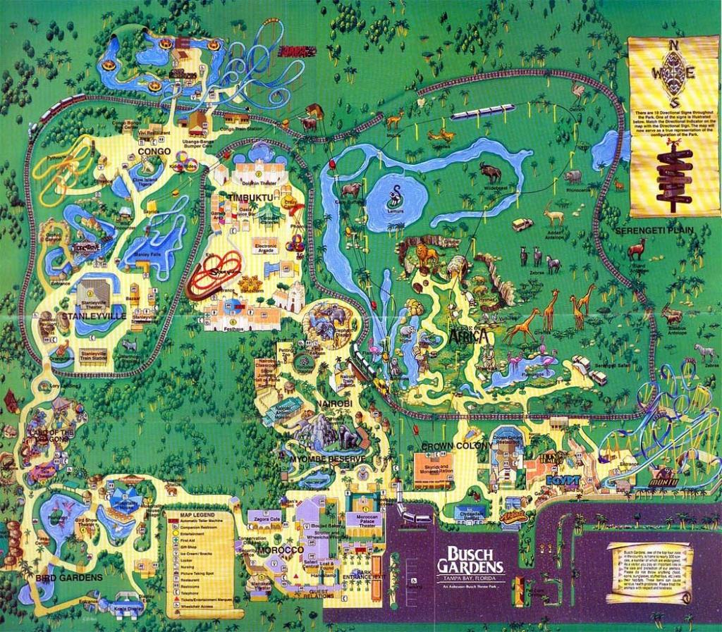 Theme Park Brochures Busch Gardens Tampa - Theme Park Brochures - Florida Busch Gardens Map