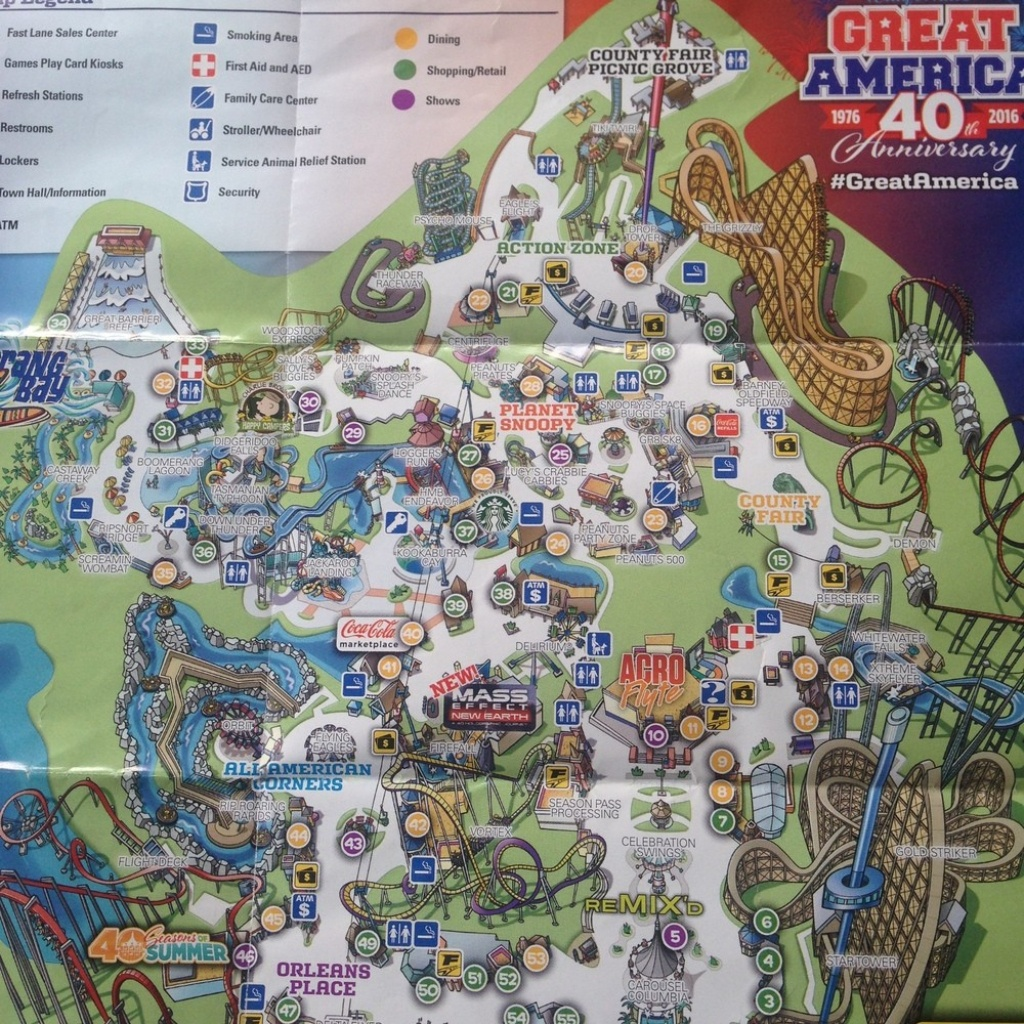 Theme Park Brochures Six Flags Great America In California S Map At - California's Great America Map 2018