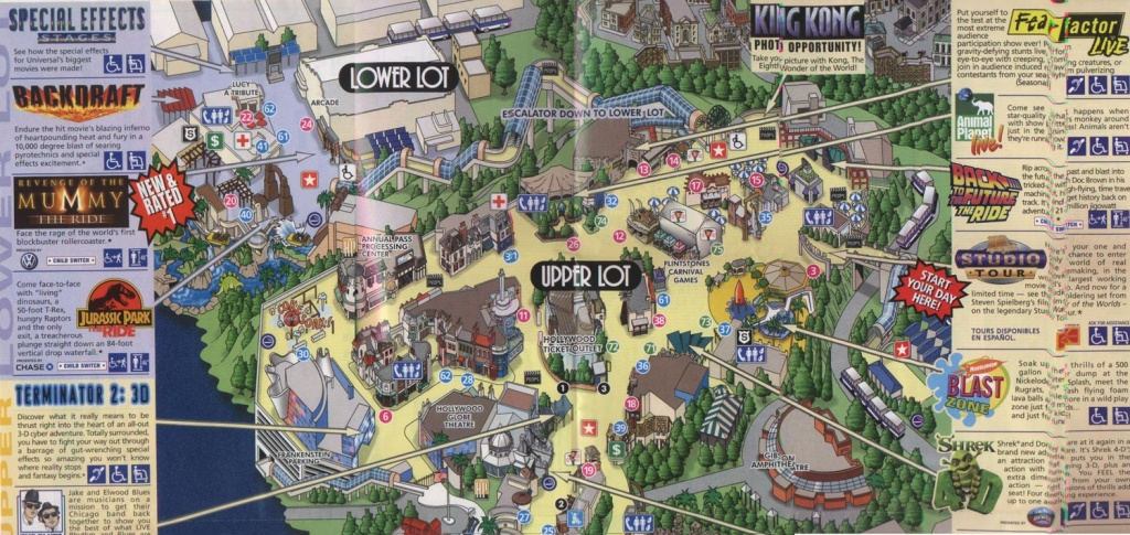 Theme Park Brochures Universal Studios Hollywood - Theme Park Brochures - Universal Citywalk California Map