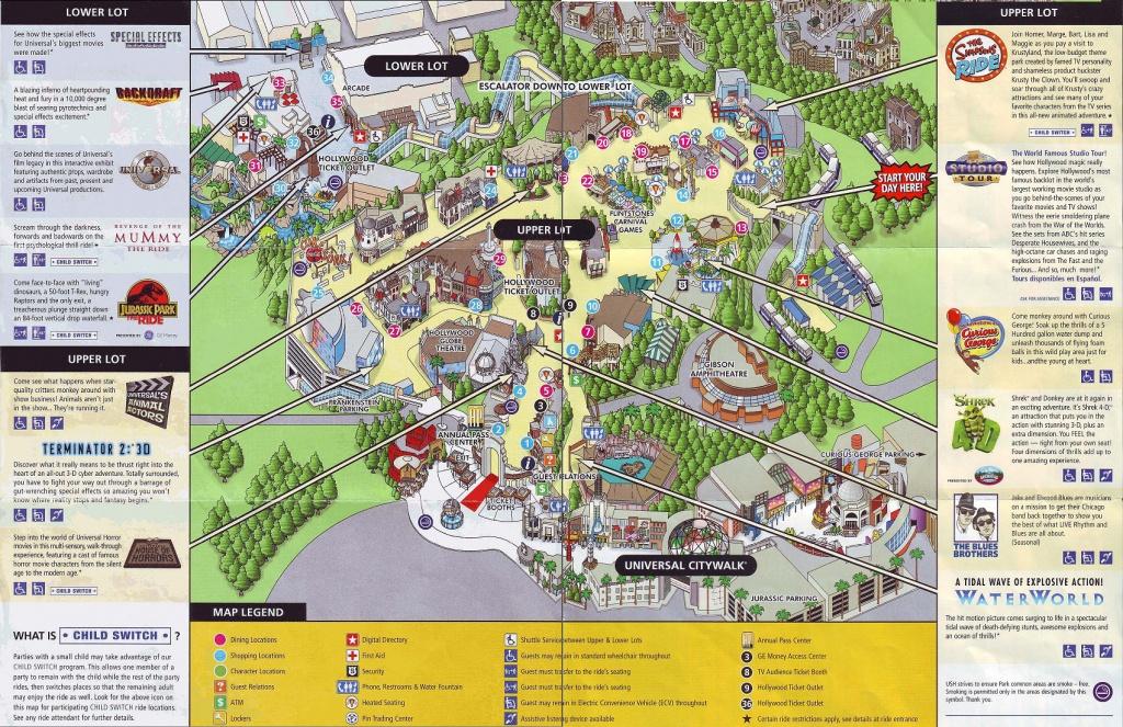 Theme Park Brochures Universal Studios Hollywood - Theme Park Brochures - Universal Studios California Map Of Park