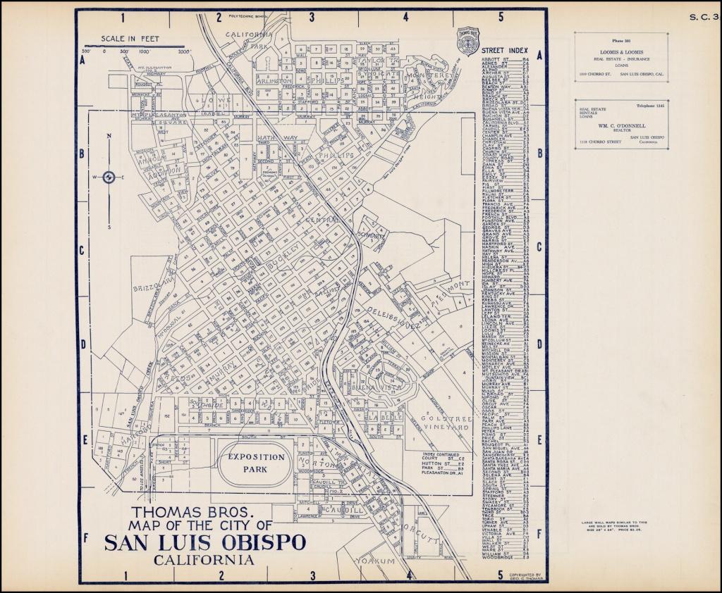 Thomas Bros. Map Of The City Of San Luis Obispo California - Barry - Thomas Bros Maps California