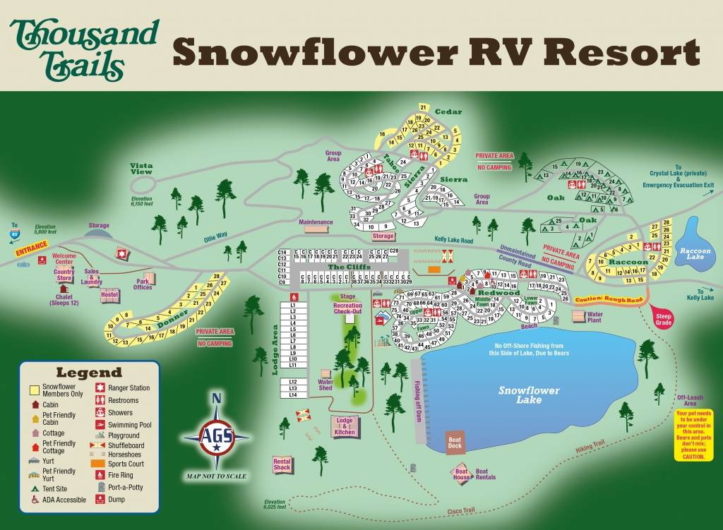 Thousand Trails Snowflower Resort - Emigrant Gap, Ca - Campground - California Rv Resorts Map