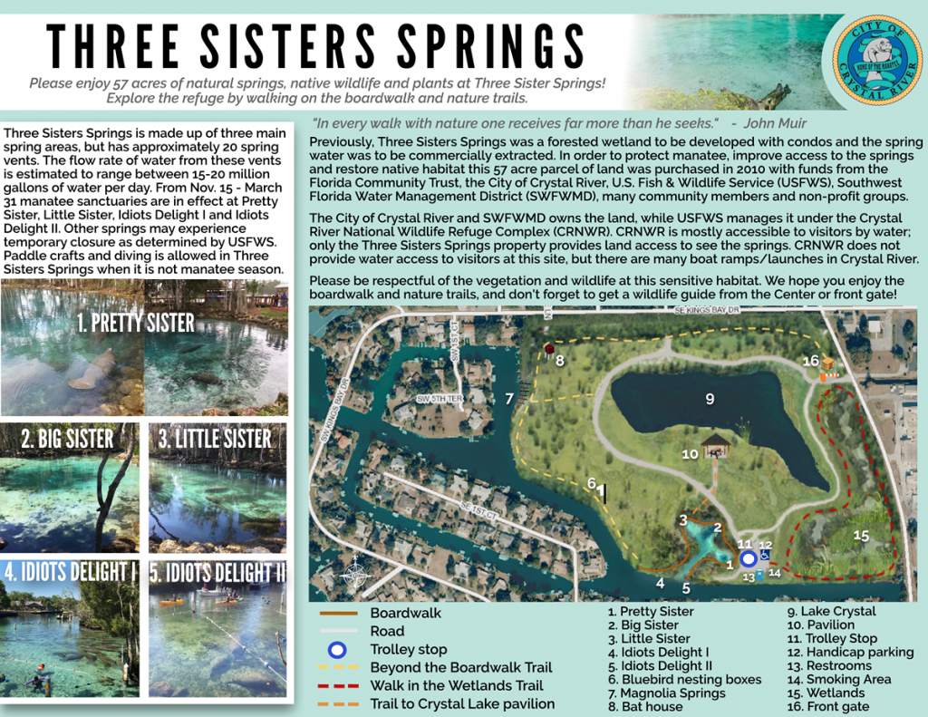Three Sisters Springs, Crystal River, Florida | On A Tank Full In - Natural Springs Florida Map