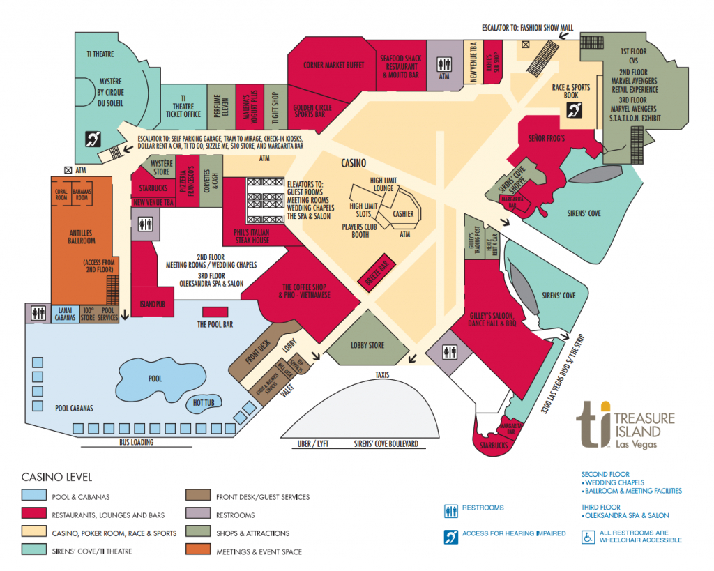 Ti Hotel Property Map Treasure Island Hotel And Casino, Las Vegas - Casinos In Texas Map