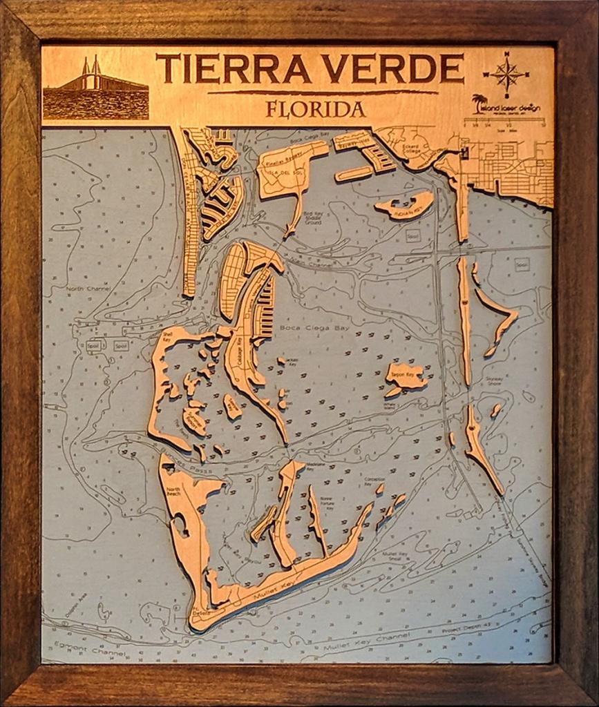 Tierra Verde Small – 2 Layers – 16″ X 20″ | Island Laser Design - Terra Verde Florida Map