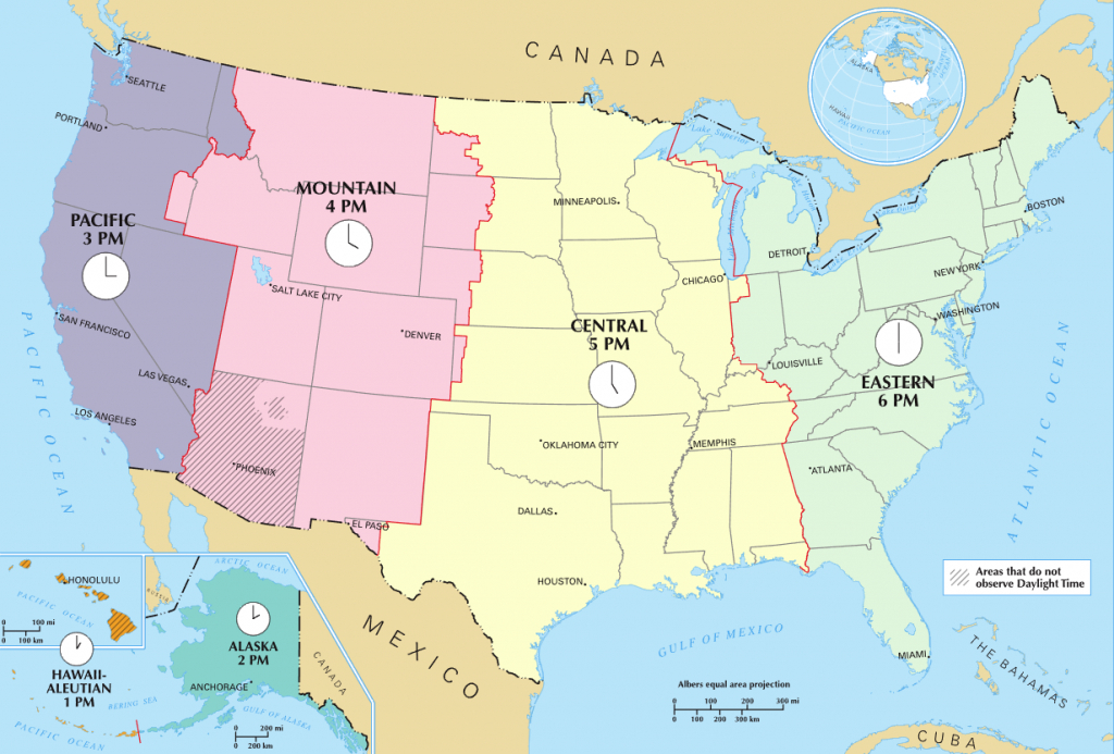 Time In The United States - Wikipedia - Us Time Zones Map States Name Printable