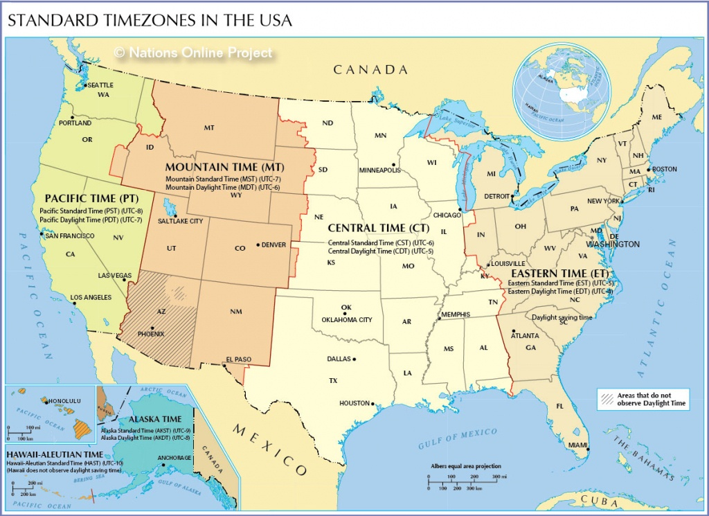 Time Zone Map Of The United States - Nations Online Project - Us Time Zones Map States Name Printable